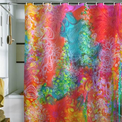 """Rainbow colorful Shower curtain """"Dappled Light"""" art by Stephanie Corfee as art piece in bathroom"""