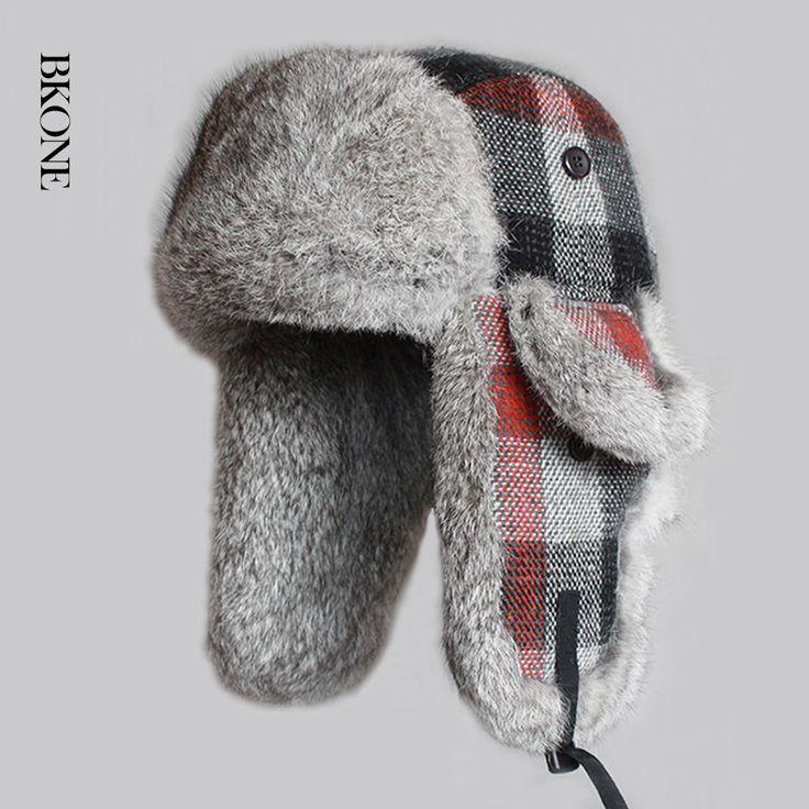 ==> [Free Shipping] Buy Best BKONE Winter Men Bomber Hats Real Rabbit Fur Trooper Hat Plaid Thicken Wool Earflap Russian Ushanka Winter Warm Snow Caps Online with LOWEST Price | 32762592837