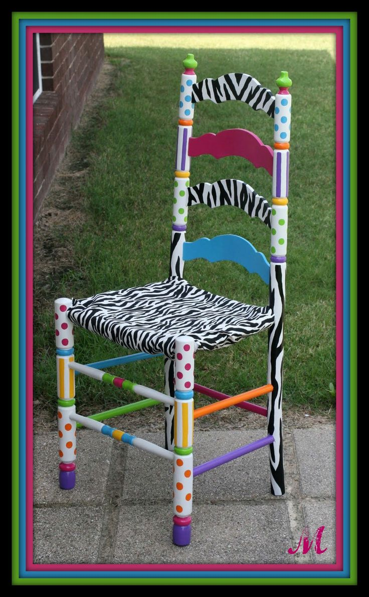 Funky Hand Painted Furniture | funky custom hand painted chair black white painted chair with pink ...