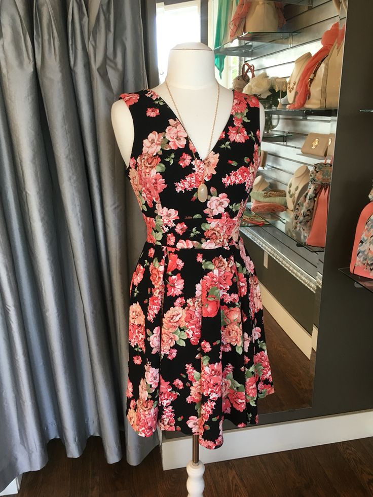 Black & Floral Summer Dress - This is another pattern of one of our most popular summer dresses for 2016. It is perfectly tailored to flatter many different body shapes and is made from soft, breathable fabric.  (Black & Floral Dress $68CAD) #summer #summerstyle #fashionista
