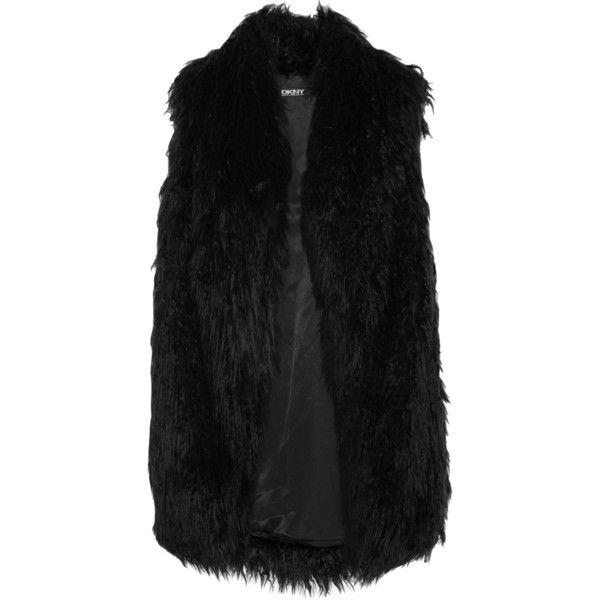 DKNY Faux fur gilet (10 035 UAH) ❤ liked on Polyvore featuring outerwear, vests, jackets, liivit, black, faux fur vest, slim vest, dkny, fake fur vest and black fake fur vest
