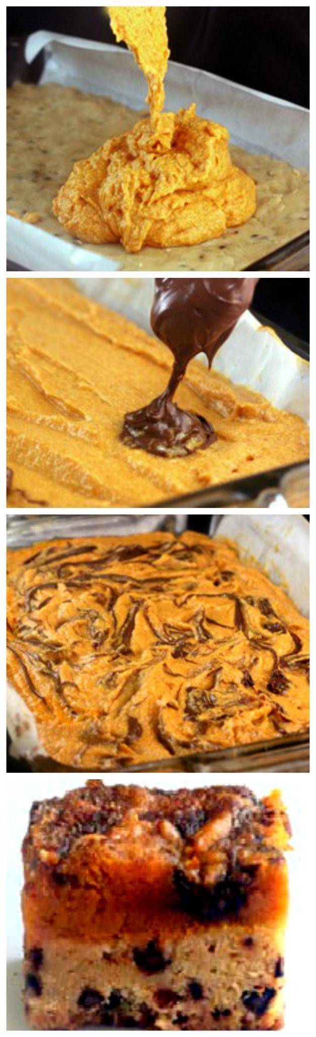 Kürbiskuchen Nutella Chocolate Chip Snickerdoodle Riegel. Das ist nur … WOW!