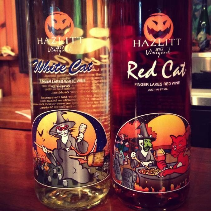 Halloween festive white and red cat wine