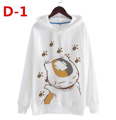 Japanese kawaii printed cartoon cat hooded fleece