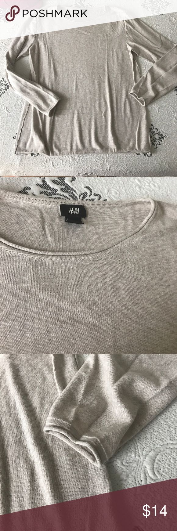 H&M men's cream sweater Works for women too, has a unisex look H&M Sweaters Crewneck