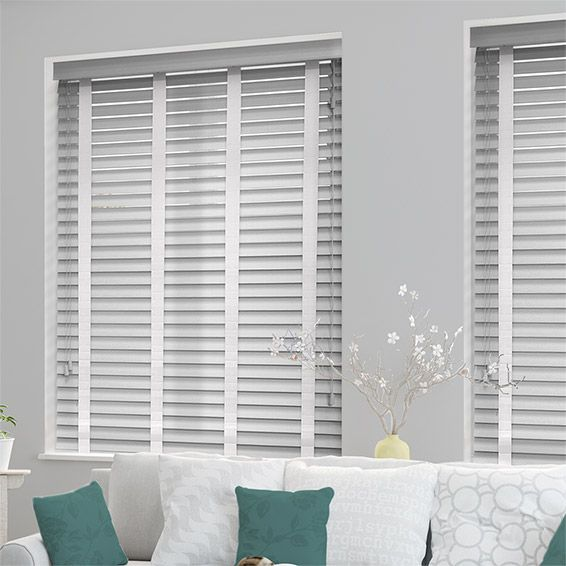 Pearl Grey White Wooden Blind With Tapes 50mm Slat New Home