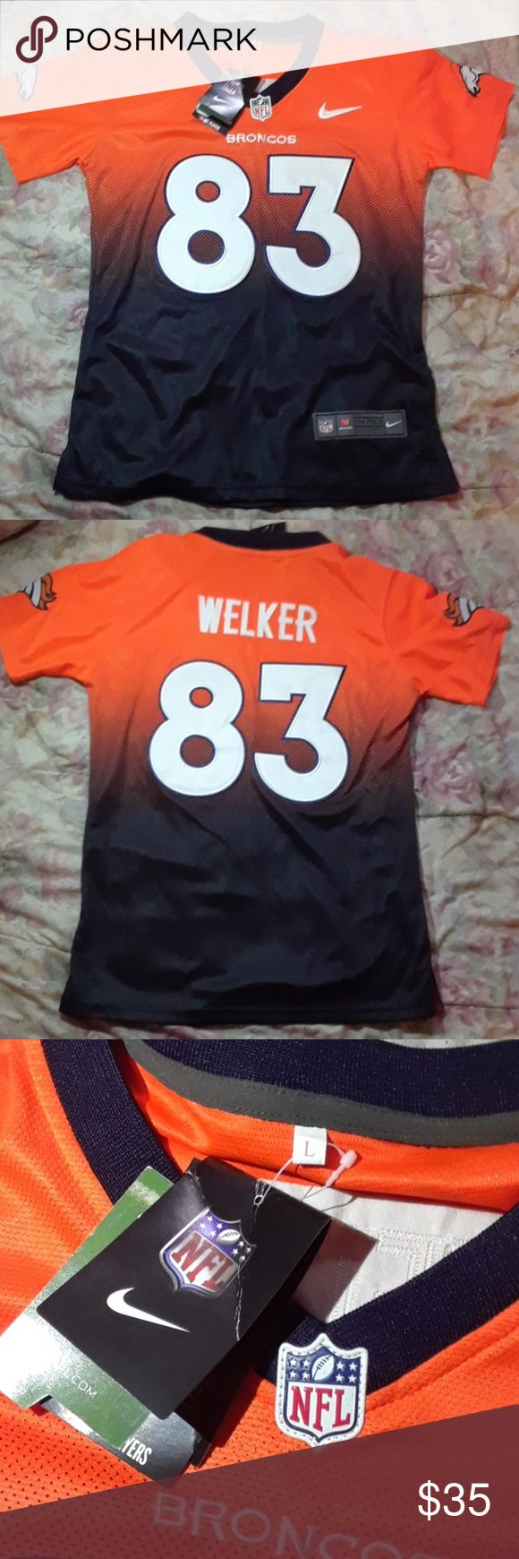 Denver Broncos jersey. #83 Walker Denver Broncos women's jersey, ombre orange/blue. Says size L but I'd say it fits more like a medium. Still has it's tags. NFL Tops Tees - Short Sleeve