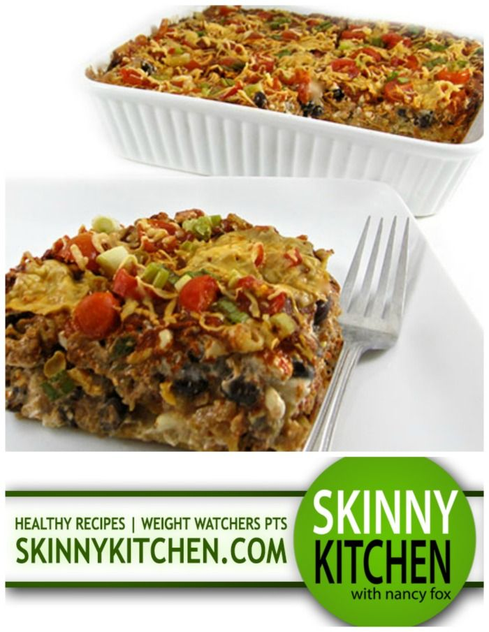 Absolutely Delicious, Skinny Beef and Bean Enchilada Casserole. Forget all the tortilla rolling....This is a cinch to make! Each serving has 285 calories, 4g fat & 7 Weight Watchers POINTS. http://www.skinnykitchen.com/recipes/absolutely-delicious-skinny-beef-and-bean-enchilada-casserole/