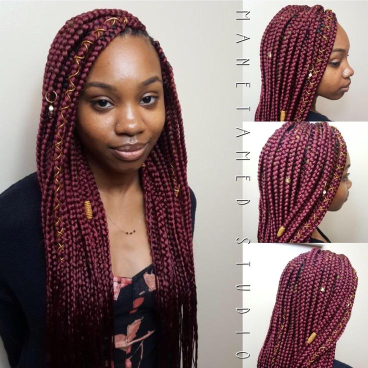 Medium Box Braids Triangle Part Box Braids Burgundy