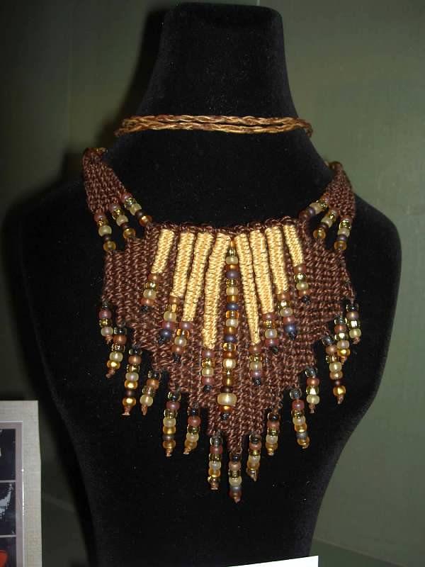 """Seashore"" - 2012 - Adjustable Length, glass beads, SOLD. Hand woven, handwoven, weaving, weave, needleweaving, pin weaving, woven necklace, fashion necklace, wearable art, fashion necklace, fiber art."
