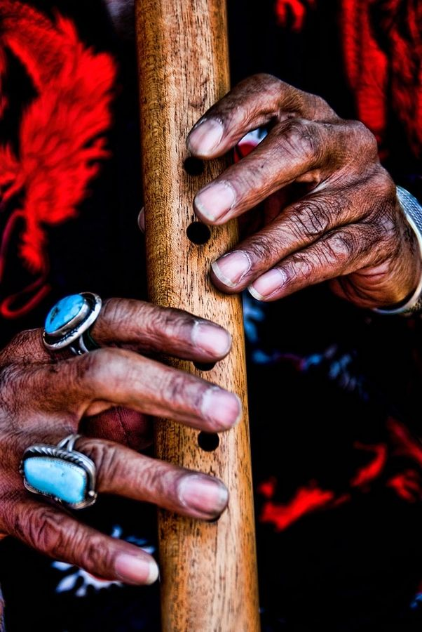 """""""Flautist Hands"""" - Native American playing a wooden flute - by Ray LaskowitzMusic, American Plays, Native Americans, Hands, Beautiful Rings, Wooden Flute, American Flute, Turquoise Rings, Homemade Instruments"""