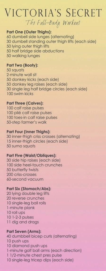 Victoria Secret Workout: Do each circuit 2-3x (do the first 4 circuits one day, the next three another day, and do the whole thing twice one day).