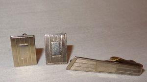 Vintage Cufflink Tie Clip Set Metal Rectangle Horizontal Lines Silver Tone  | eBay
