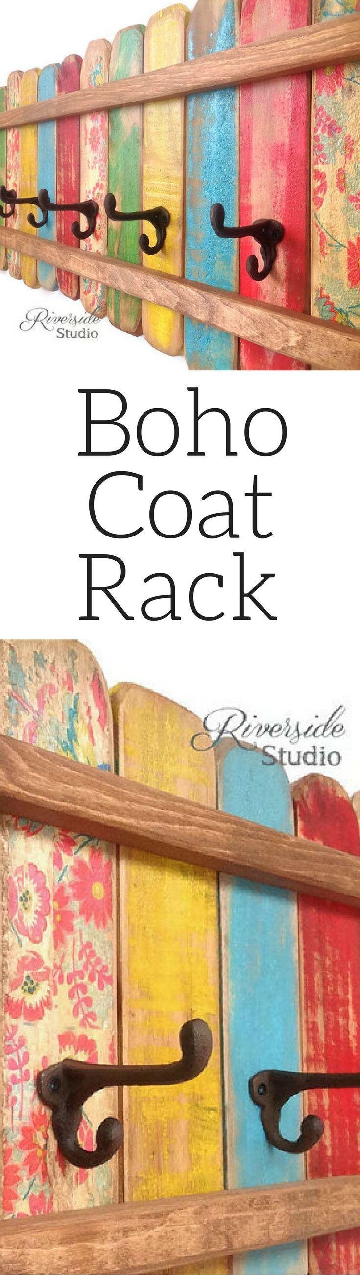 Love the colors!! Boho Floral Wood Coat Rack, Boho home decor,Cast Iron Coat Hook / Shabby Cottage Beach Chic Coat Rack, Bohemian Furniture, Bathroom Towel rack #ad #affiliatelink