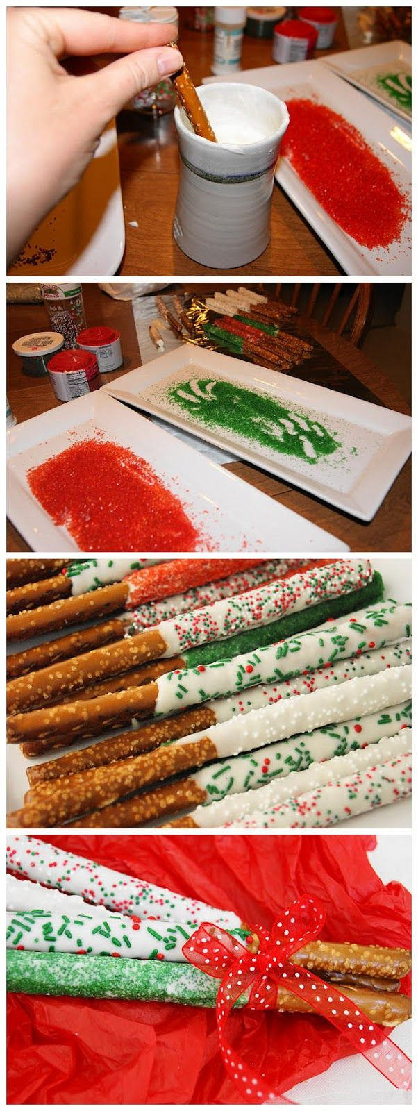 Christmas white chocolate dipped pretzel rods.