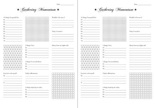 "Free Printable gathering momentum - This PDF is called a ""gathering momentum"" worksheet because it is a way to literally gather good feeling thoughts, which give your mind positive thinking momentum. By choosing to direct your thoughts, you are choosing the fork in the road that leads towards feeling good."