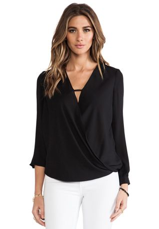 krisa Cross Surplice Blouse in Black