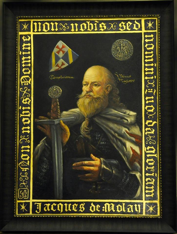 Jacques De Molay, dernier grand Maitre de l'Ordre du Temple du royaume de France, brûlé vif au bûcher en 1314 à Paris.