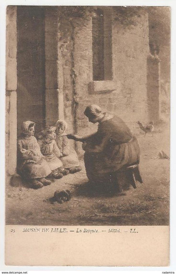 """Carte Postale Ancienne """"LA BECQUÉE"""" – MILLET - MUSÉE DE LILLE -France."""