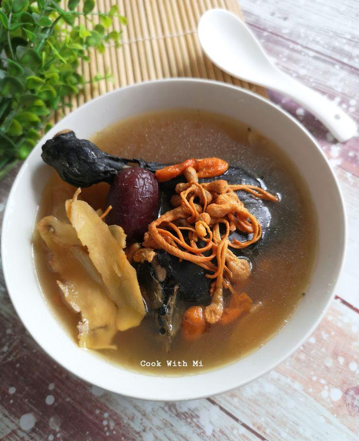 Cordyceps Flower Cordyceps Militaris Black Chicken Soup In 2021 Chicken Soup Sweet Soup Black Chicken Recipe Chinese