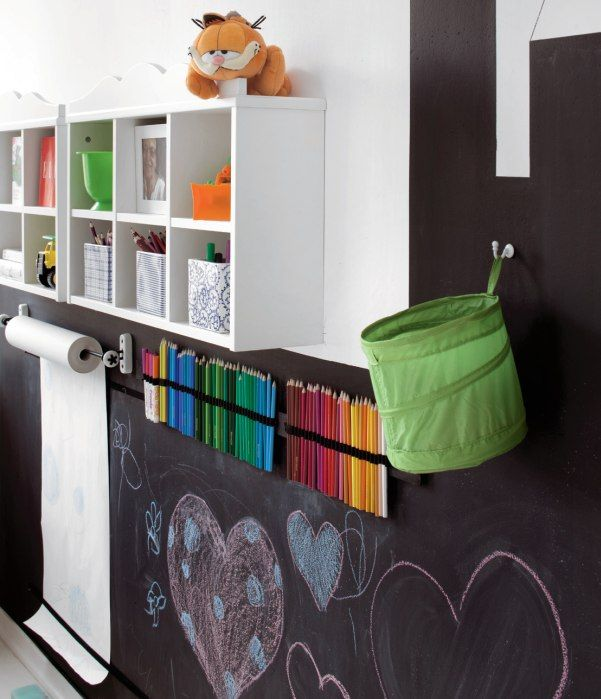 Best use of chalkboard paint I've seen yet. #playroom #artroom