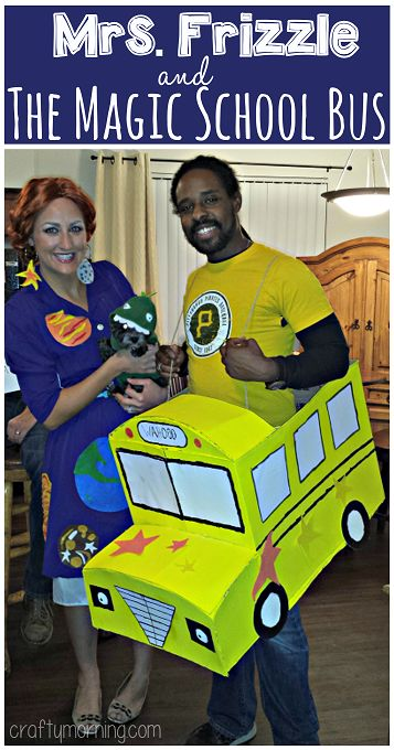 Mrs. Frizzle & The Magic School Bus Couples Costume #Halloween Idea #Cardboard | CraftyMorning.com