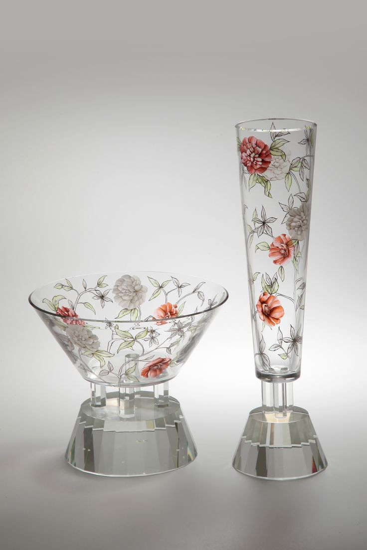 Hand-painted set of vases ROSALINE by Jan Janecký