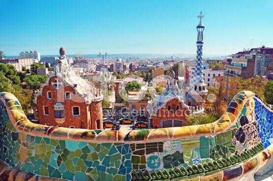 Paesaggio urbano di Parco Guell a Barcellona, Spagna - fotografia stock royalty-free