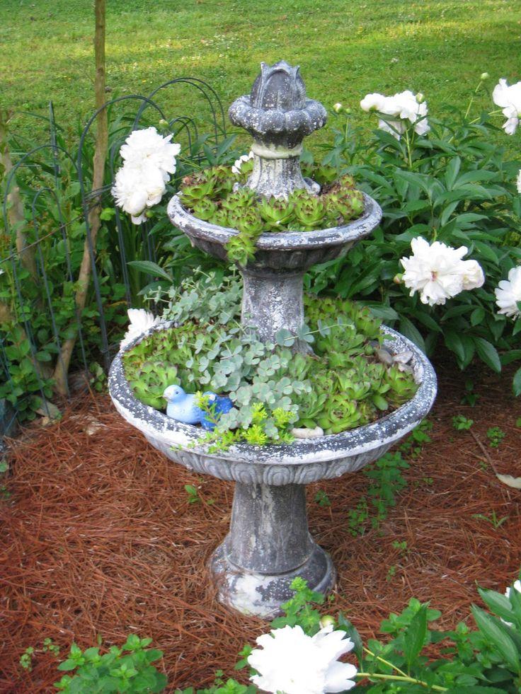 Repurposed For Life How to repurpose an old fountain  Bird Bath Garden Planters  Garden