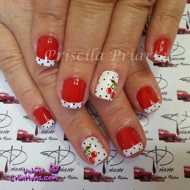 Summer Cherries nail art with polka dots
