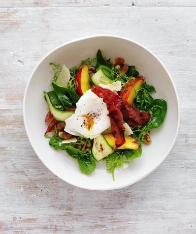 Summer Salads: peach, prosciutto & egg salad with balsamic dressing. From February marie claire. Photographed by Louise Lister. Recipes and food styled by Kerrie Worner. Props styled by Jane Roarty. Produced by Emma Wheater