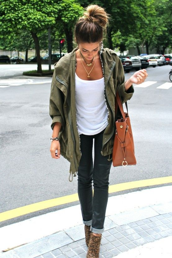 olive green and messy bun