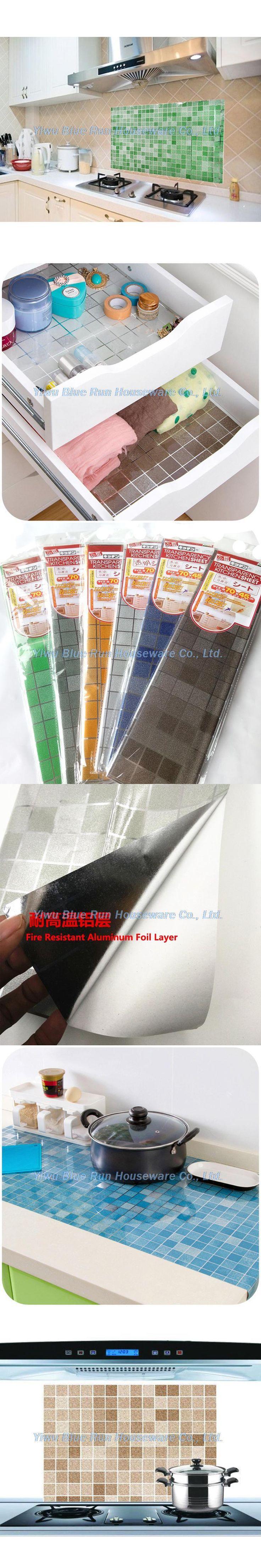 45x70CM Mosaic Aluminum Foil Self-adhensive Anti Oil Wallpaper for Kitchen Wall Sticker DIY Home Decor Kitchen Wallpaper