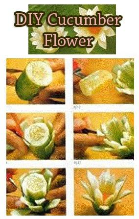 DIY Cucumber Flower...réepinglé par Maurie Daboux¸¸.•*¨*⋱‿✿╮