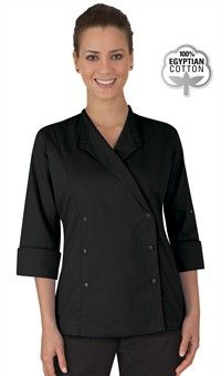 Style # 551857: BLACK: Women's Lapel Collar Chef Coat - Snap Front Closure - 100% Egyptian Cotton