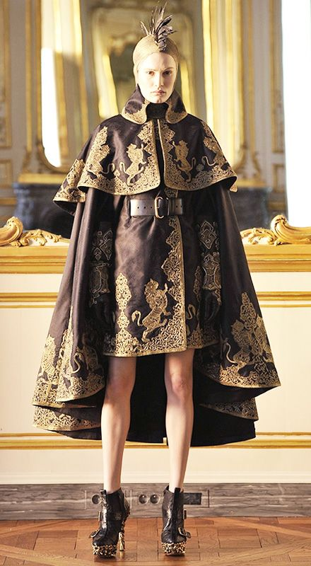 Fab fashion work inspired by Byzantine art, the carvings of Grinling Gibbons, and old masters such as Botticelli and Hieronymus Bosch by brilliant fashion design Alexander McQueen