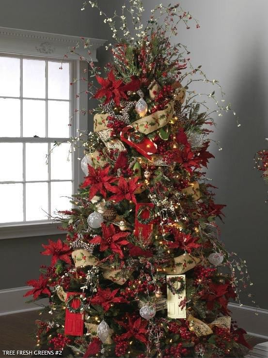 Poinsettias and ribbon... | Christmas Trees | Pinterest