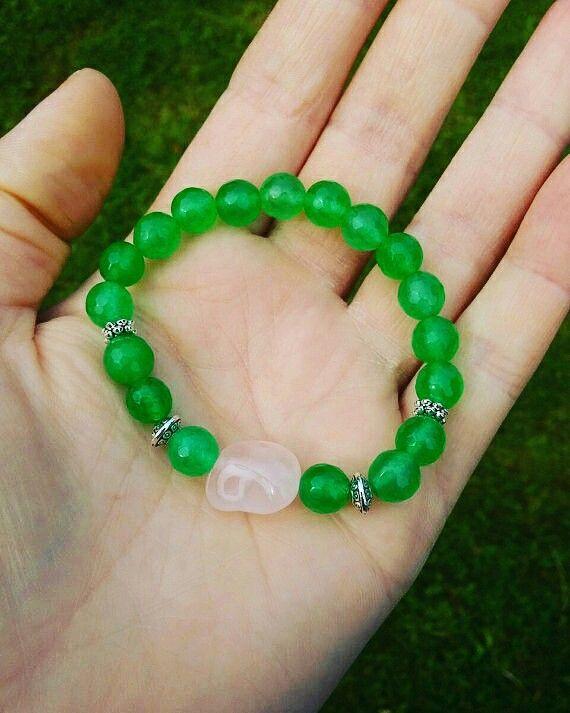 Green jade&Rose quartz gemstone healing love power lucky Bracelet, Reiki/Yoga Bracelet