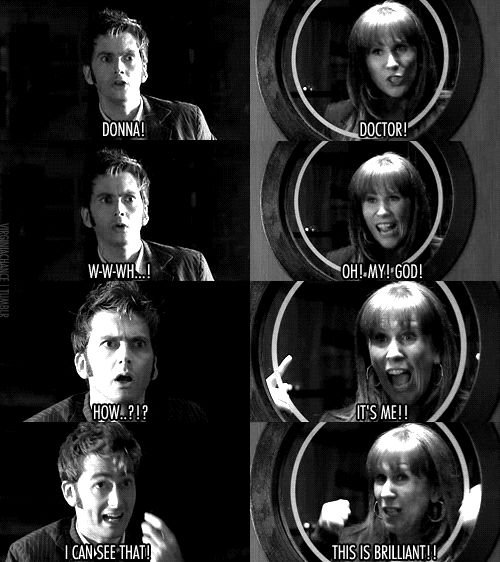 OMG!!!! This has to be one of my favorite doc who momnets doctor who donna and doctor at window gif | virginiachance :