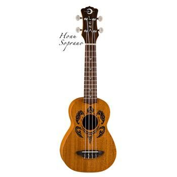 Luna's HONU Soprano Ukulele takes its design from traditional hawaiian body ornamentation. This design is based on a Hawaiian turtle (honu), a symbol of longevity and endurance rendered in a Polynesian tattoo style. The fret markers are stylized sharks te