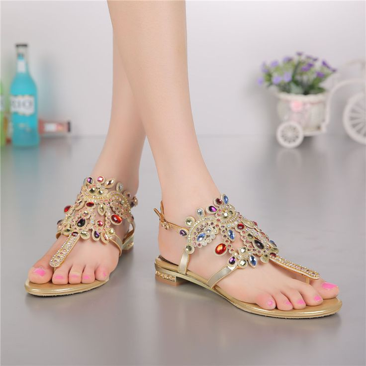 Clip Toe Roman Sandals Bohemia Shoes Women Rhinestone Sandals Low-heeled European And American Diamond Leather Thong Sandals