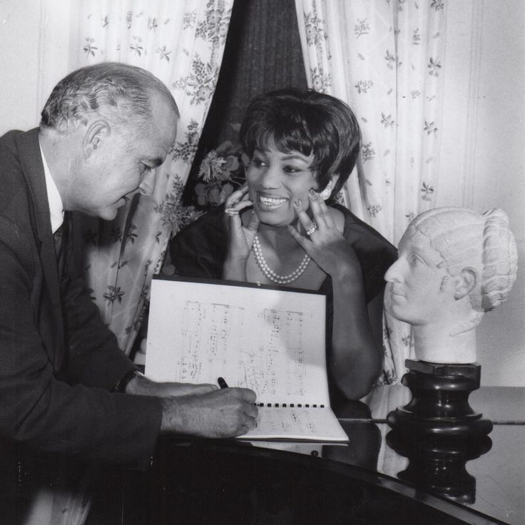#Met50 A few final tickets have been released for sale to the 50th Anniversary Gala on Sunday, May 7! Pictured here is soprano Leontyne Price and composer Samuel Barber. Barber's Antony and Cleopatra opened the inaugural season at Lincoln Center in 1966 starring Ms. Price in the title role.  __________________________ #LeontynePrice #AnthonyandCleopatra #SamuelBarber #MetOpera #Met #Gala #MetOperaArchives Photo courtesy of the Metropolitan Opera Archives