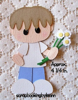 Boy with Flowers Paper Piecing