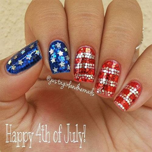 Fourth Of July Acrylic Nail Art Flag Nails American Flag Nails July Nails