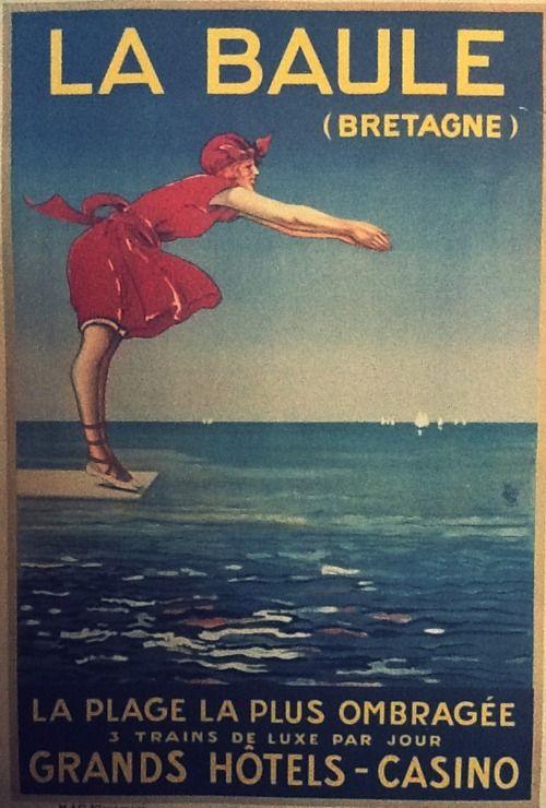 La Baule, Bretagne / Brittany vintage travel poster ~ 'La plage la plus ombragée' ~ '3 trains deluxe par jour' ~ 'Grand hôtels - casino'