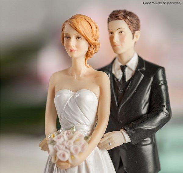 Contemporary Bride with Blonde Hair | Interracial Wedding Cake Topper