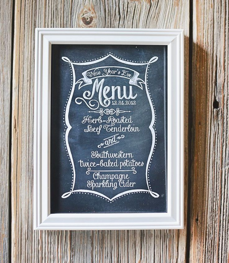 Was thinking I could make a menu board like this with blackboard paint and 'menu' in white paint. Great gift.
