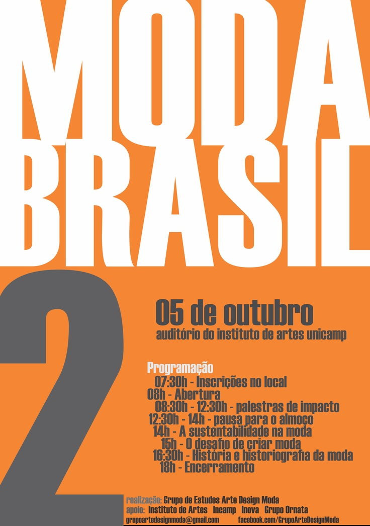 2o. Evento de Pesquisa de Moda Brasil - Instituto de Artes Unicamp  poster de André Barros