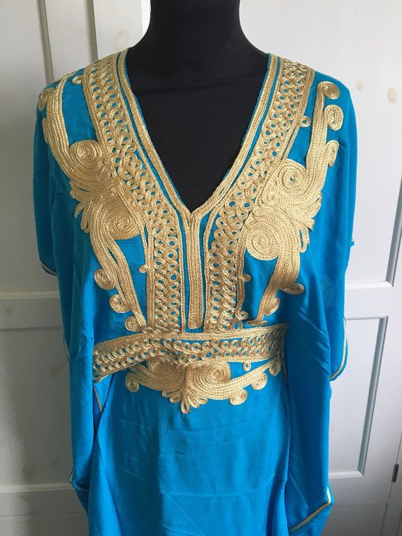 Turquoise and gold moroccan  cotton kaftan uk size 8-12