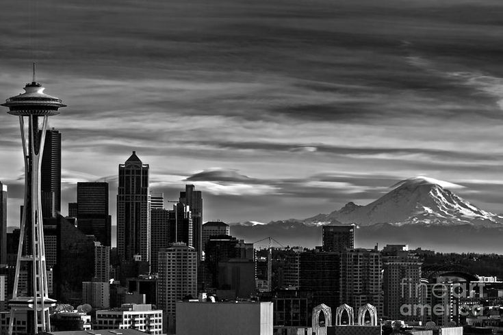 Seattle Skyline In Black And White Photograph  - Seattle Skyline In Black And White Fine Art Print